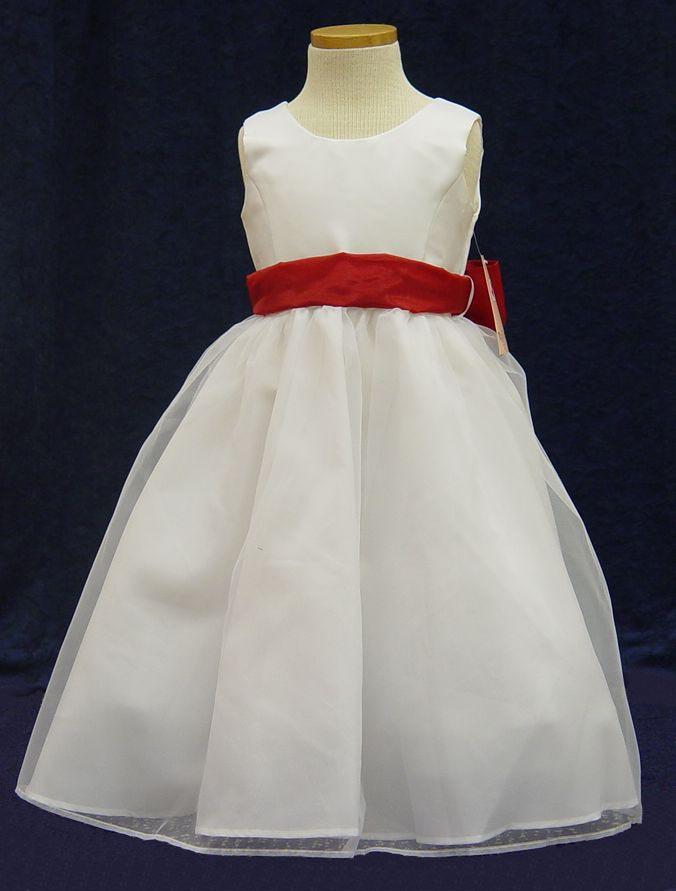 Style g0209 flower girl dresses children formal wear denver g0209 white with red sash mightylinksfo