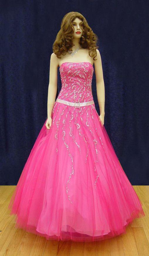 Prom Gowns, P0112 Hot Pink