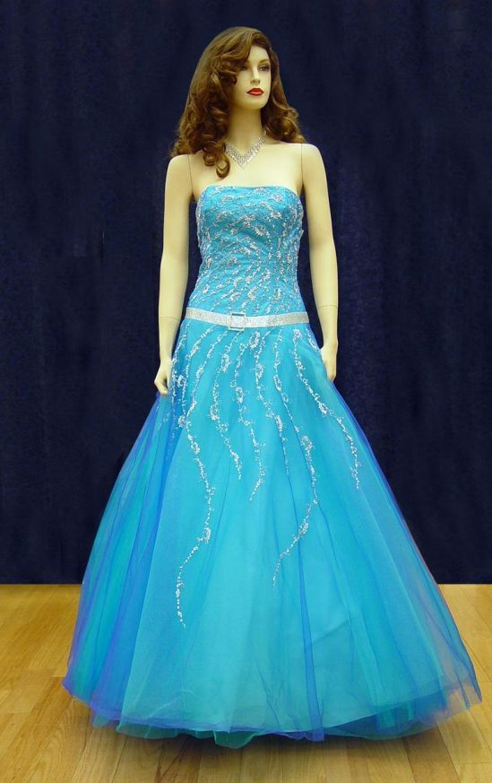 Prom Gowns, P0112 Turquoise/Blue