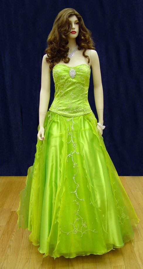 Prom Gowns, P0113 Lime/Green
