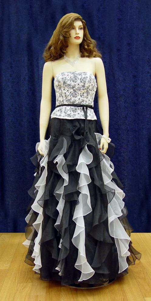 Prom Gowns, P0116 Black and White