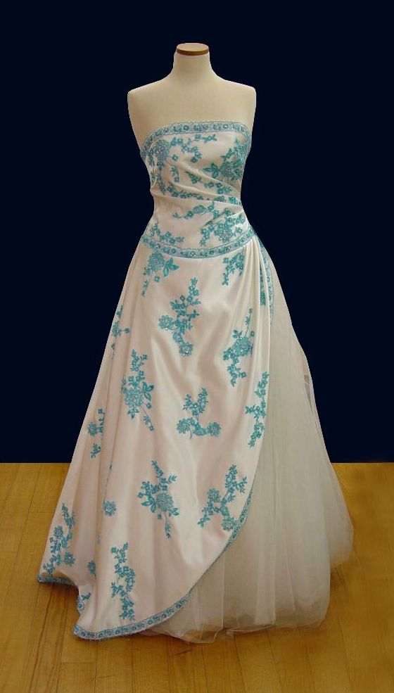 Prom Gowns, P0122 Ivory and Blue