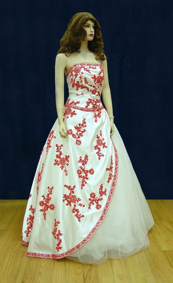 Prom Gowns, P0122 Ivory and Red