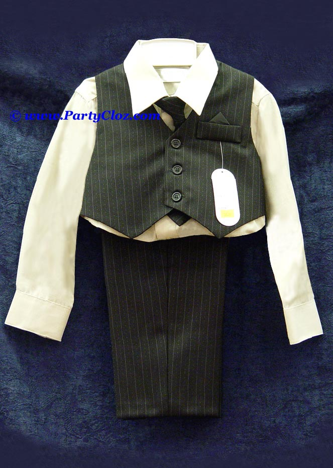 Kids Suits and Tuxedos, Style T0103 Black with Stripes and Taupe Shirt