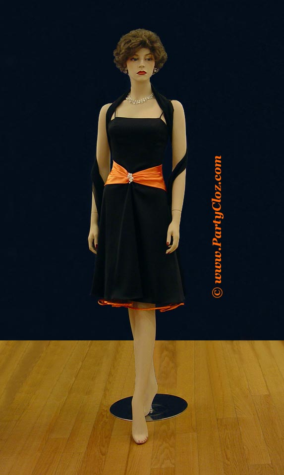 Bridesmaid Tail Dresses S0110 Black And Orange