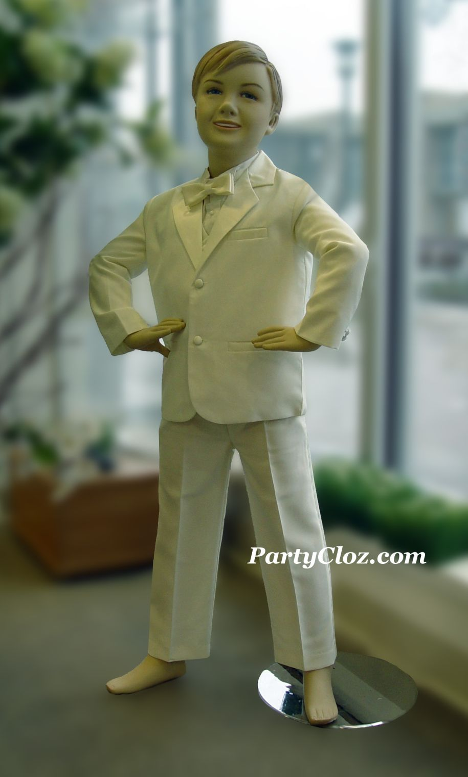 Kids Suits and Tuxedos, Style T0105 White and Taupe Shirt