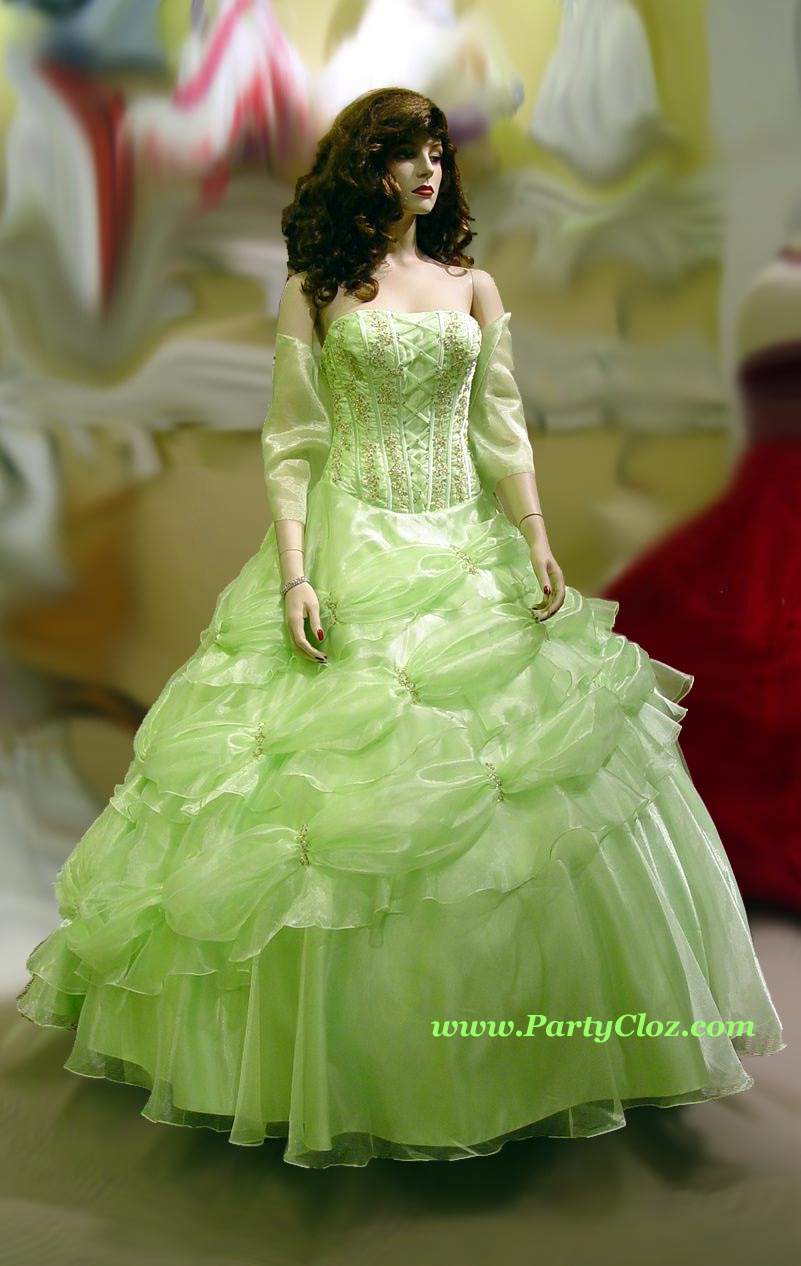 Prom Gowns, P0135 Light Green (Lime Green)