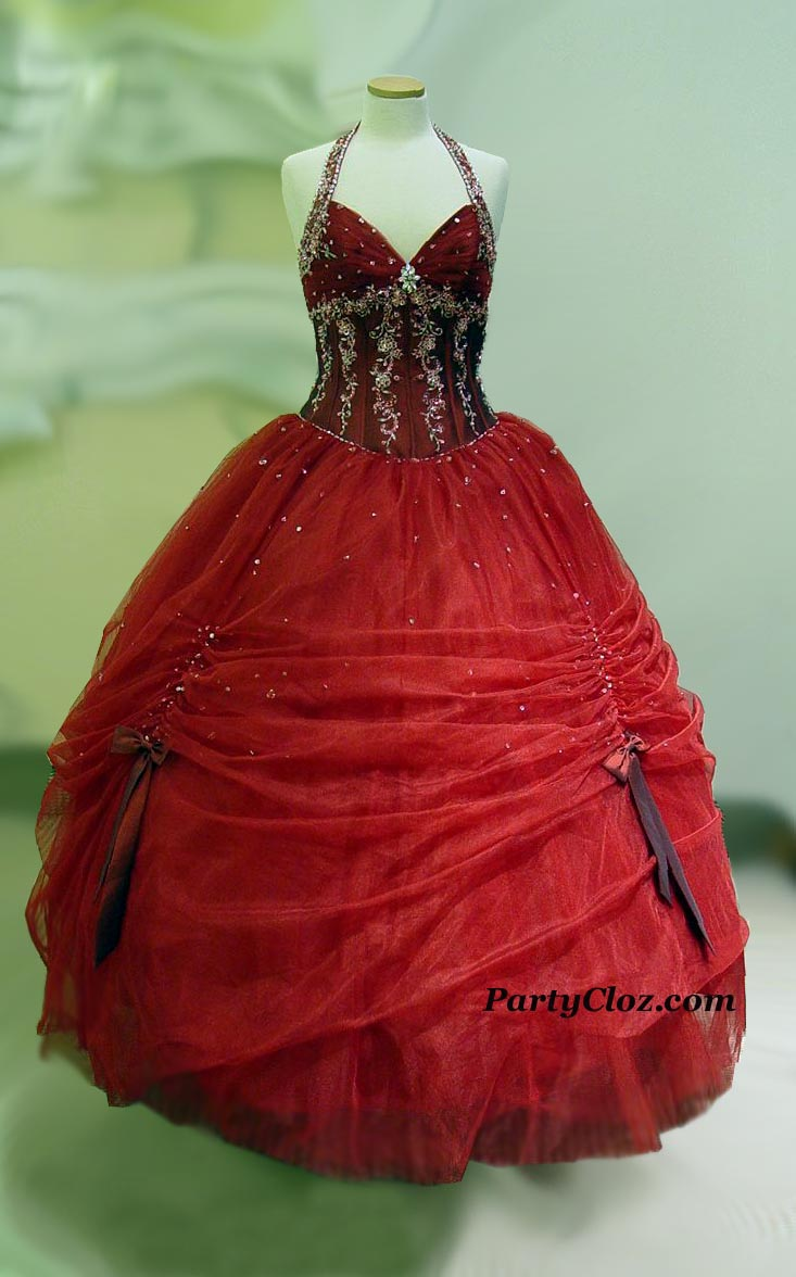 Prom Gowns, P0134 Burgundy