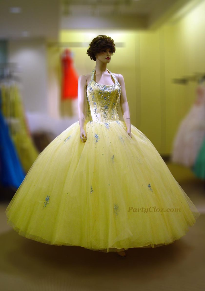 Prom Gowns, P0130 Light Yellow