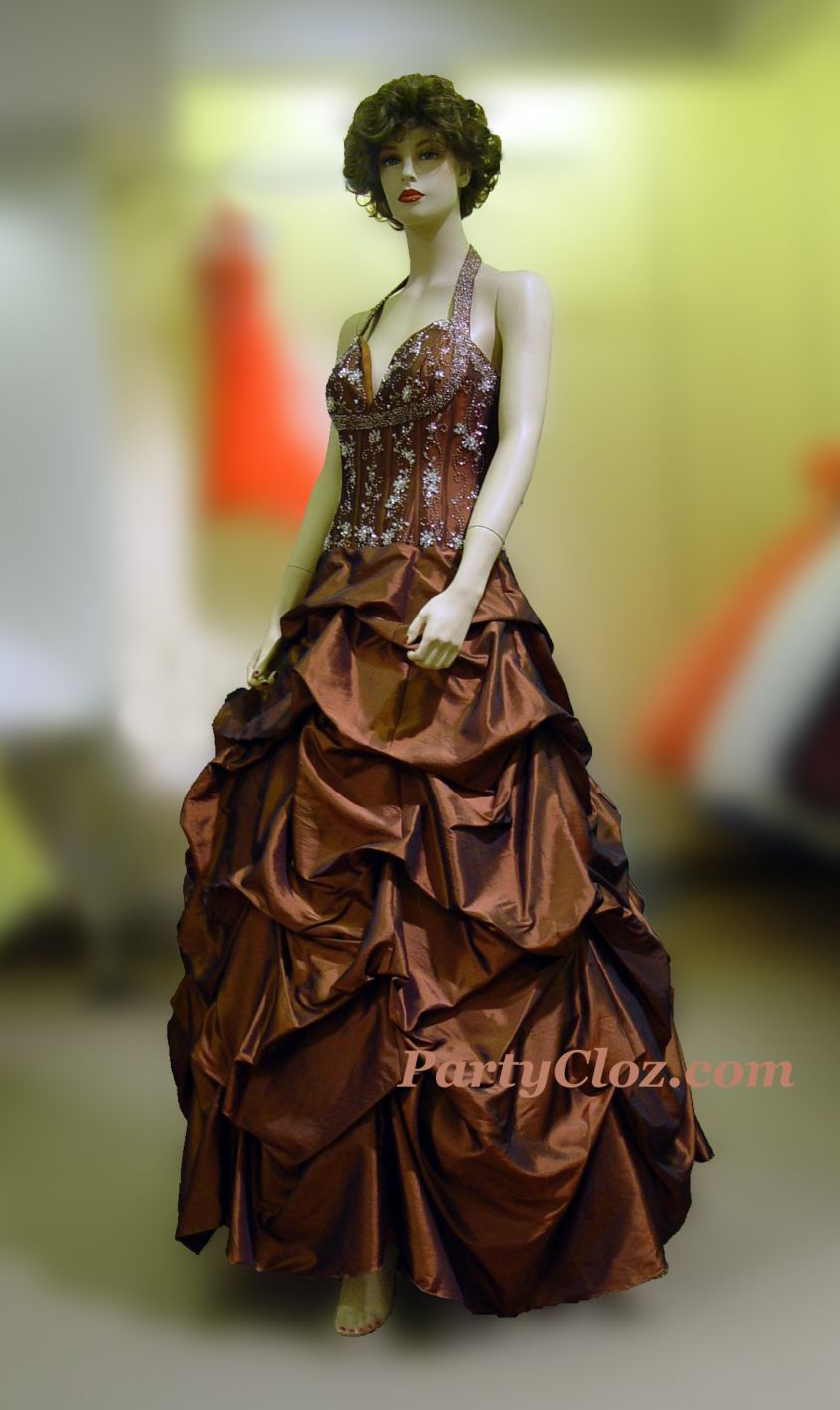 Prom Gowns, P0147 Brown