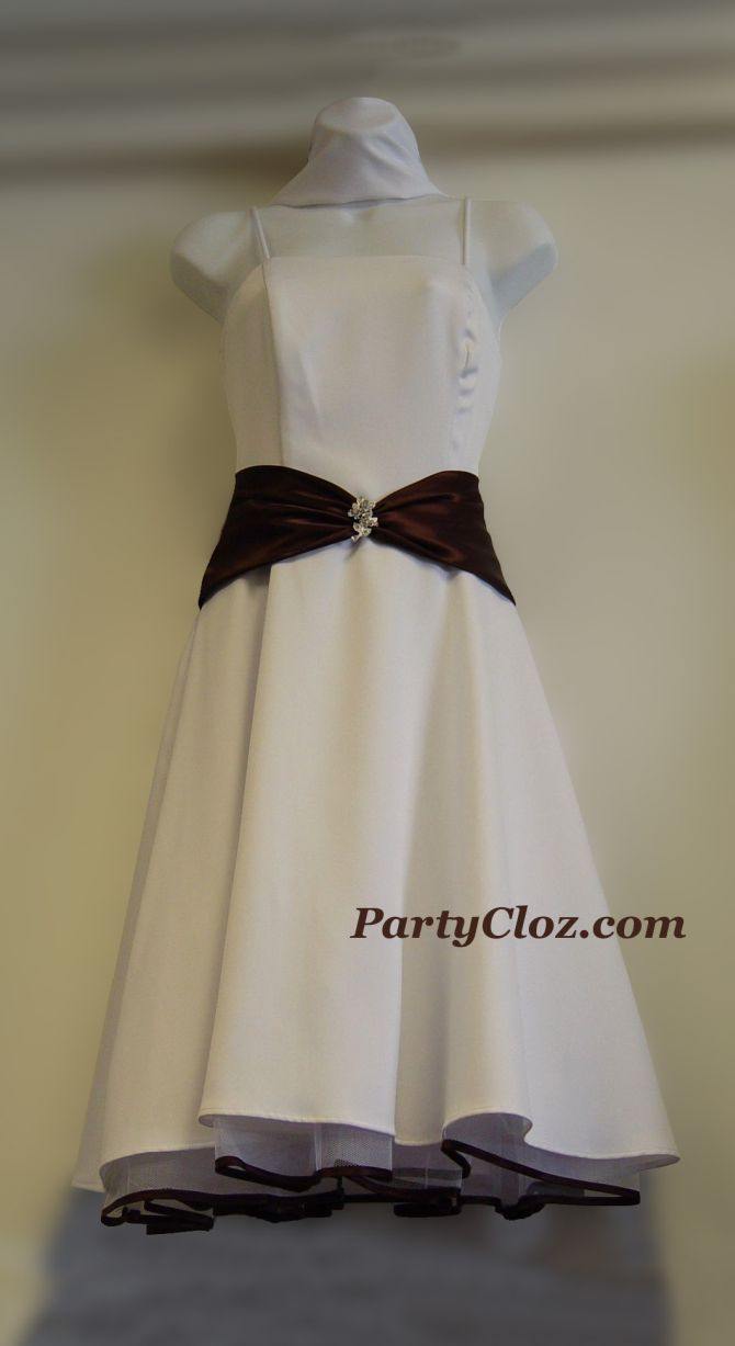 Bridesmaid, Cocktail Dresses S0110 White and Brown