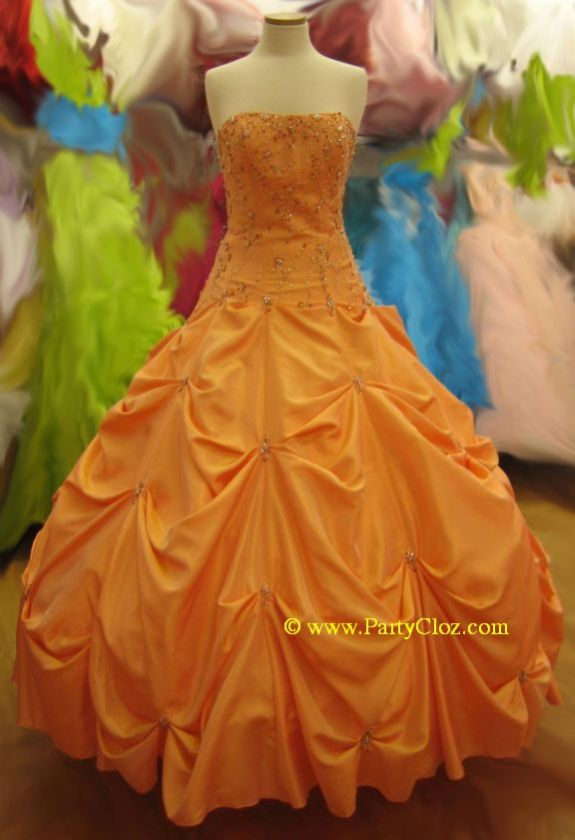 Orange Puffy Prom Dresses 16